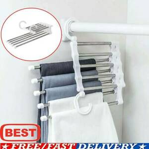 5-in-1 Pant Rack Shelves Steel Multi-functional Wardrobe Hangers Home