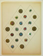 Vintage Metal Glass Jewel Buttons on Collector's BOARD Pakastani Paisa Coins