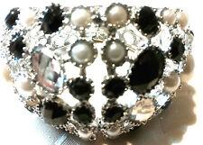 Bracelet Clip Perles noir et blanches avec strass blanc, garantiSansNickelN°1010