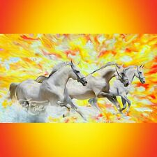 NIK TOD ORIGINAL PAINTING LARGE SIGN OIL ART COLLECTOR INVESTMENT RUNNING HORSES