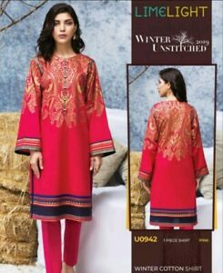 Authentic LIMELIGHT Winter Collection'19 unstitchd WINTER COTTON kurta 2 FOR £28