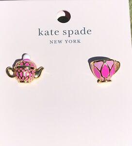 Kate Spade Tea Time Teacup Stud Earrings Pink Enamel