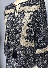 Laura Ashley Navy Blue Lace Insert Tassel 100% Cotton Boho Hippy Festival Top 10