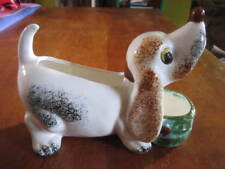 Vintage Ceramic Beagle or Dachshund Planter Desk Caddy Mail or Key Holder