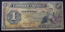 MEXICO BANKNOTE 1 Peso, P.S240  UNC  1914 (Banco Londres Y Mexico)