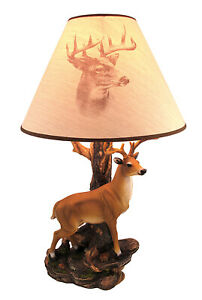 Zeckos `Champion` 12 Point Buck Table Lamp w/ Printed Shade