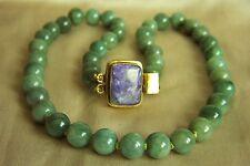 "Fabulous Estate Vintage Natural Jadeite Jade Bead Necklace 21.5""  108.5 g"