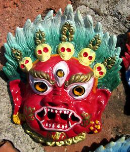 TIBETAN BUDDHA MAHAKALA WRATHFUL DHARMA PROTECTOR HAND PAINTED METAL MASK PLAQUE