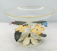 Vintage Italian Candy Dish Metal and Glass Painted Leaves and Flowers TF