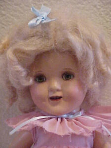 "11"" Shirley Temple Vintage Ideal Composition Doll Redone Mohair Wig Lovely"
