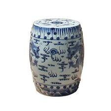 Chinese Blue & White Porcelain Round Double Dragons Theme Stool cs5281