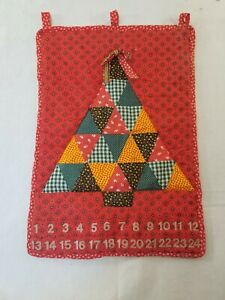 Handmade Quilted Christmas Advent Calendar Fabric Wall hanging 22 X 30