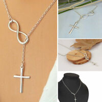 Womens Infinity Cross Necklace Chain Silver Crucifix Fashion Gift Necklaces Long