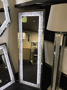 Crushed Diamond Crystal LED Floor Standing mirror, light up sparkle mirror New