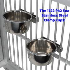 1722 2pk 5oz Clamp Cups Bonka Bird Toys Stainless Steel Durable Parrot Quaker