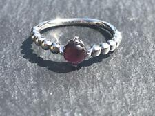 Handmade beaded ring with Garnet stone in 925 Sterling Silver.
