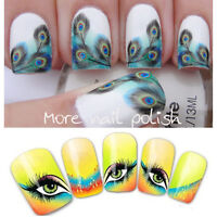 Nail Art Water Decals Transfers Stickers Fancy Feather Eyes  Decoration