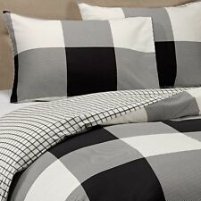 BLACK GINGHAM 3pc KING DUVET COVER ~ RUSTIC COTTAGE CHECK PLAID OFF WHITE