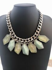 Zara Statement Necklace Chunky Big Chain Green Turquoise Mint Evening Festival