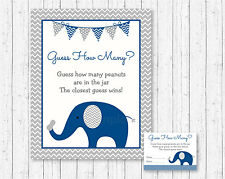 "Blue Elephant Guess The Peanuts Baby Shower ""Guess How Many?"" Game Cards"