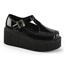 "DEMONIA Creeper-214 Black Vegan Goth Punk Piping 3"" Platform Creepers Shoes Heel"