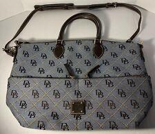 Dooney And Bourke Fabric Denim handbag large With Leather Handles NWOT