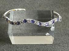 Silberarmreif Armreif Tansanit Weißtopas 925er Silber Damen Armspange Scharnier