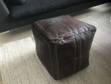New Square Moroccan Leather Ottoman Pouf Footstool Coffee Table In Dark Tan