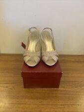 Debut Cremoso boda taco Gris Zapatos Con Puntera Abierta-Reino Unido Señoras Tamaño 7