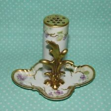 Antique Victorian Limoges France Stick Pin Holder Hand Painted Gilded B&H Mark