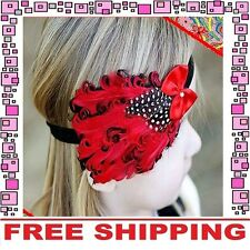 Red Black Cotton Feather Headband Hairband Girls Baby Infant Toddler Children