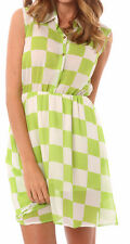 New $79.95 Shades L 10 Green White Check White Collar Button Front Sheer Dress