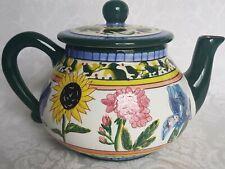 Blue Ridge Designs Pottery Teapot Hand-Painted Raised Floral Verna, Sunflower