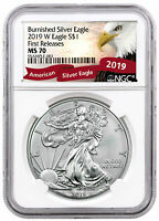 2019 W 1 oz Burnished American Silver Eagle NGC MS70 FR Eagle Label SKU55867