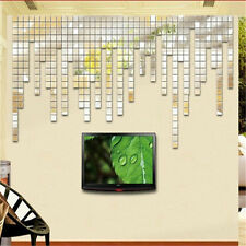 100pc 2x2cm Silver Square Wall Sticker Art Mosaic Mirror Sofa Living Room Decor