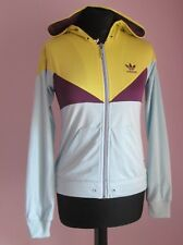 VTG Ladies ADIDAS Lime/Purple/Pale Blue Hooded Tracksuit Top Size 8 (1p)