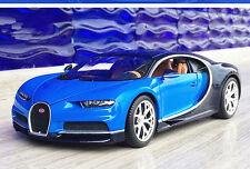 Bburago 1:18 Bugatti Chiron Diecast Metal Model Roadster Car New in Box Blue