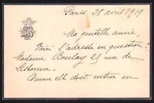 Sarah Bernhardt. L.a.s. A une amie. 1919.