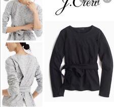 J Crew Classy Style Tie Waist Slit Back Long Sleeve Top Women Size S Cotton Knit