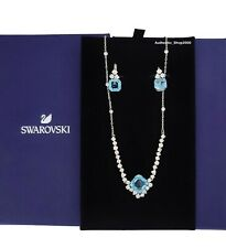 New Authentic SWAROVSKI Rhodium Aqua Sparkle Bling Earrings Necklace Set 5525354
