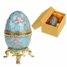 Egg Shaped Trinket Box Hinged Jewelry Ring Holder Collectible Figurine Decor