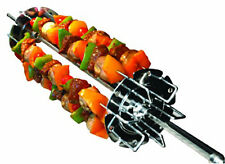 BBQ Rotisserie Spit Rod Grill Forks Shish Kebab Kit Barbecue Accessories Wheel