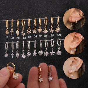 1pc Mini Huggie Hoop Ring Bar Dangle Ear Tragus Helix Piercing Post Earring #F