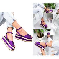 Women's Platform Sandals Espadrille Ankle Strap Comfy Summer Peep Toe Shoes
