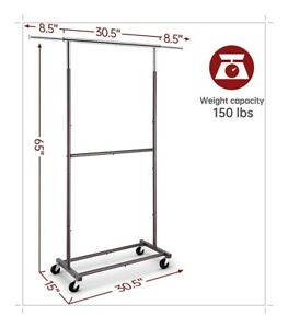 Heavy Duty Commercial Garment Rack Rolling Collapsible Clothing - Double Bronze