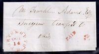 1851 Stampless Cover - Portsmouth, Ohio to Bucyrus, Ohio - Red Paid 3