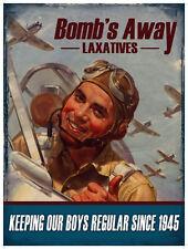 BOMBS AWAY USAF FIGHTER PILOT 1945 LAXATIVE METAL POOLROOM BAR MANCAVE DEN SIGN