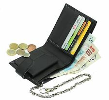 Mens Biker Genuine Leather Wallet With Coin Pocket And Safety Metal Chain #06