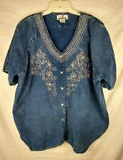 CZ Club Blue Denim Button up Shirt with Silver Beads/Sequins - Size 26/28