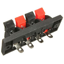 4-Way AMP Stereo Speaker Terminal Board Plate Strip Push Release Connector Block